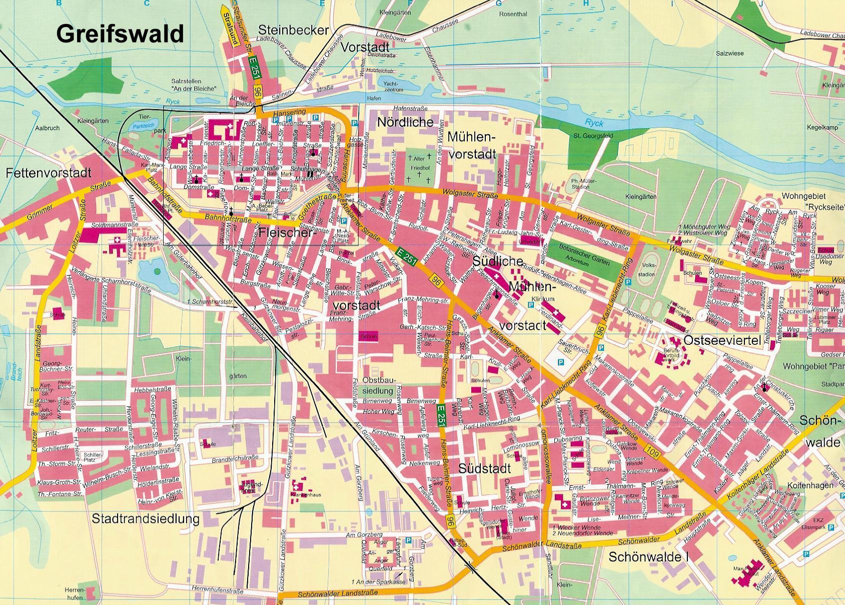 Greifswald Karte.Stadtplan Von Greifswald